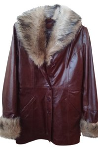 Wilsons Leather Leather Faux Fur Coats Brown Leather Jacket