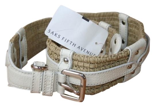 Saks Fifth Avenue Saks Fifth Avenue white leather/fabric belt, SIZE 32/80, new w/ tags