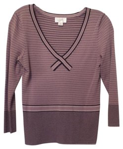 Ann Taylor Knit Contrast Patterns Sweater