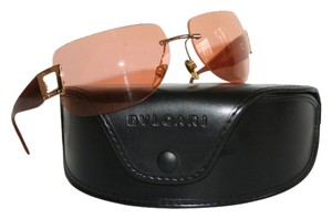 BVLGARI Authentic BVLGARI rimless brown sunglasses w/gold detailing, model M344215
