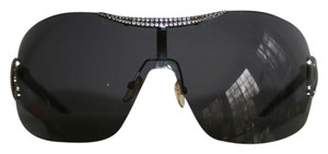 Valentino Authentic Valentino black rimless woman's sunglasses w/rhinstones & red detailing, in excellent condition