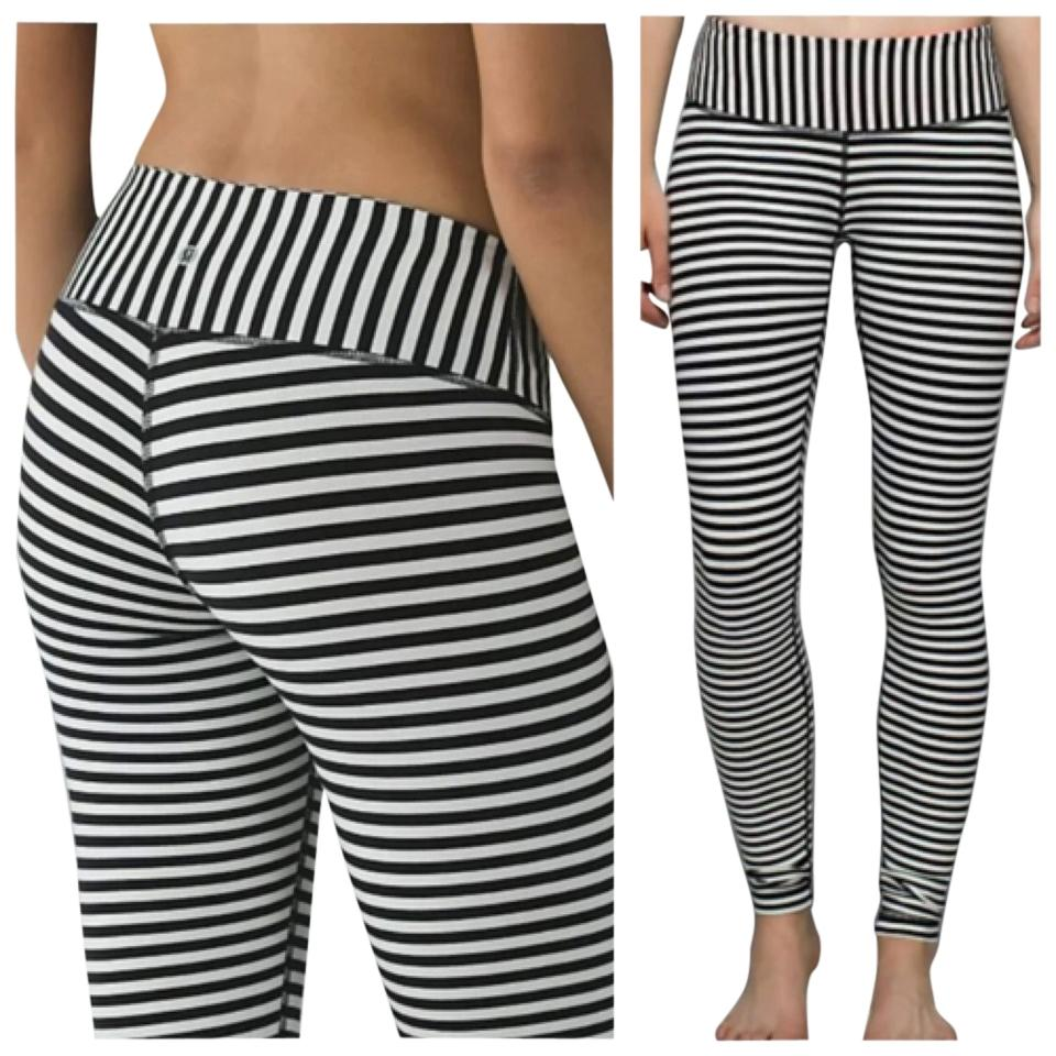 86265a5e0a Lululemon New With Tags Lululemon Wunder Under Pants Angel Wing Parallel  Stripes Bold Stripe Black And ...
