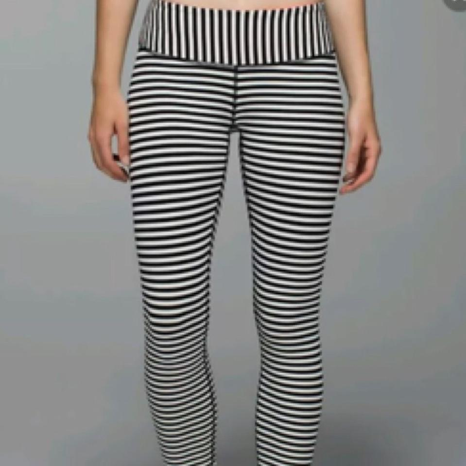 facf2a2ddb Lululemon New With Tags Lululemon Wunder Under Pants Angel Wing Parallel  Stripes Bold Stripe Black And. 123456