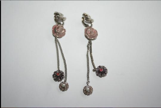 Chanel Authentic vintage Chanel clip earrings CC logo double chain dangle floral COCO