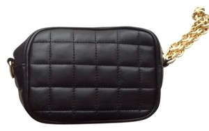 BCBGMAXAZRIA Leather Quilted Chain Clutch Evening Wristlet in Black, Gold Metal