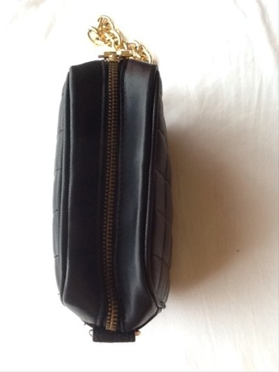 BCBGMAXAZRIA Leather Quilted Chain Clutch Evening Purse Wristlet in Black, Gold Metal