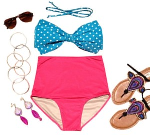 Sexy Aqua Bow Bandeau top with Fuchsia High Waist Bottom