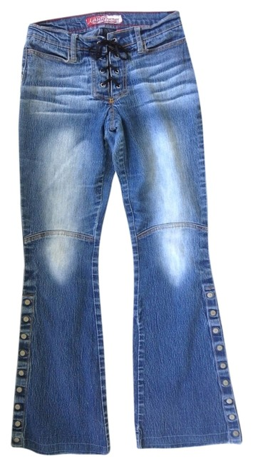 Preload https://img-static.tradesy.com/item/1122433/blue-distressed-biker-style-1-boot-cut-jeans-size-24-0-xs-0-0-650-650.jpg
