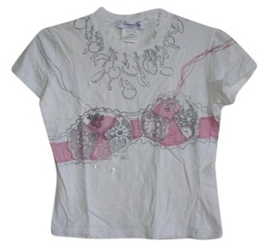Christian Dior T Shirt white w/pink