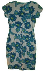 Casual Corner short dress WHITE WITH TURQOISE Vintage Look Textured Flowered Pockets on Tradesy