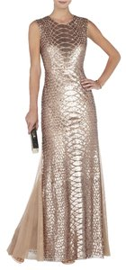BCBGMAXAZRIA Rosegold Tulle Sequin Prom Homecoming Backless Dress