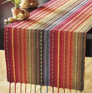 """Pier 1 Imports Multicolor Multi-stripe Table Runner with Fringe End - 72""""Length Tablecloth"""