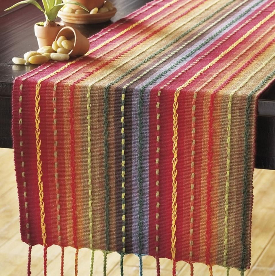 Pier 1 Imports Multicolor Multi Stripe Table Runner With Fringe End 72