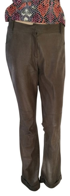 Preload https://item4.tradesy.com/images/dior-taupe-leather-wshine-christian-woman-s-straight-leg-pants-size-6-s-28-1122663-0-3.jpg?width=400&height=650