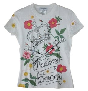 Christian Dior T Shirt whie w/colors