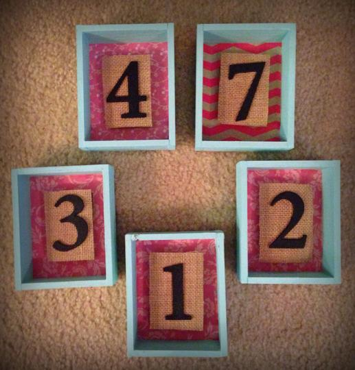 Pink Burlap and Light Tiffany Blue Shadowbox Table Numbers Reception Decoration