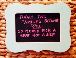 Wedding Chalkboard Sign: Two Families Become One