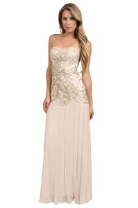 Sue Wong Champagne N3349 Vintage Bridesmaid/Mob Dress Size 6 (S)
