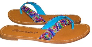 Breckelle's Multi-colored Flat Blue Multi Sandals