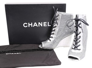 Chanel Open Toe Metallic Ankle Silver Boots
