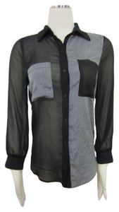 Audrey 3+1 Black White Button Up Sheer Striped Top