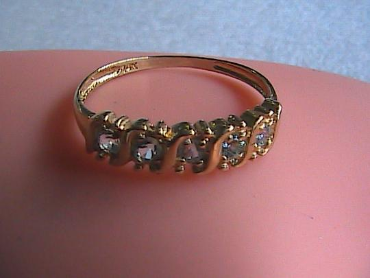 Other 0.35 cts 5 Stones Blue Topaz 10k Solid Yellow Gold Ring