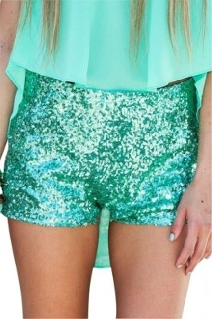 Item - Mint Green Name: High Waisted Description: Sequined New with Tags. Shorts Size 8 (M, 29, 30)