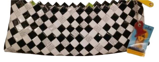 Nahui Ollin Black/White Candy Wrappers Clutch Nahui Ollin Black/White Candy Wrappers Clutch Image 1