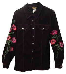 Bob Mackie Flowers Art Button Large Womens Jean Jacket