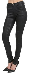 James Jeans Coated Twiggy Fitted Sey Trendy High-waisted Skinny Pants Black