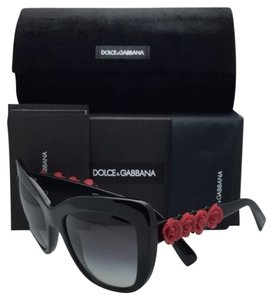 Dolce&Gabbana New DOLCE&GABBANA Sunglasses DG 4252 501/8G 55-20 Black-Red Roses Frame w/ Grey Fade