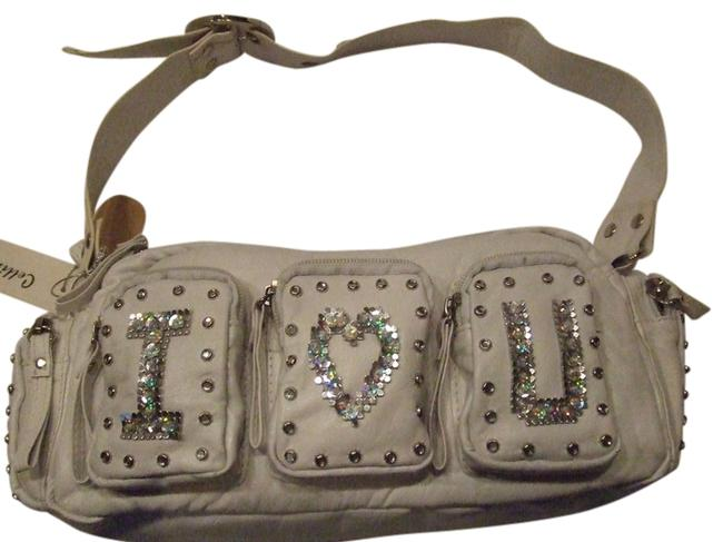 White with Sequin and Rhinestone Detail Imitation Leather Shoulder Bag White with Sequin and Rhinestone Detail Imitation Leather Shoulder Bag Image 1