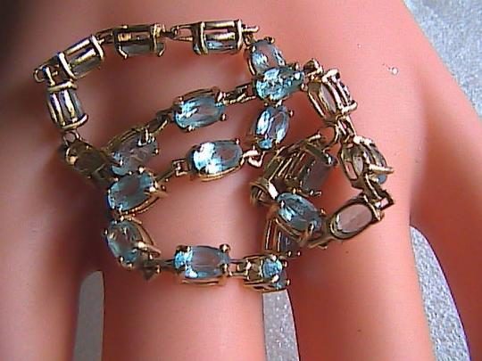 Unknown 10k Solid Yellow Gold Blue Topaz Bracelet