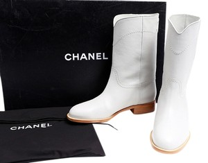 Chanel Grey Leather Cowboy Mid-calf Gray Boots
