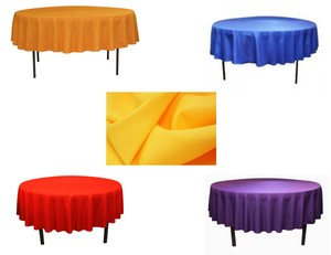 """Red Orange Yellow Blue Purple 90"""" Round Colored Polyester Tablecloth"""