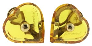 Baccarat Baccarat Crystal A LA FOLIE Heart-Shaped Clip Earrings Yellow Topaz with 18K Gold Accents Model #2101067