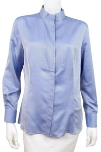 Giorgio Armani Silk Button Down Shirt Blue