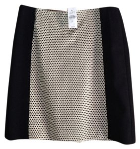 Ann Taylor LOFT Printed Houndstooth Skirt Black And White Tweed