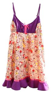 Free People short dress Floral Spaghetti Strap Cotton Mini Short Ruffle Women Lace-up Nightie Pink Ribbon Summer Spring Fashion Clothing on Tradesy