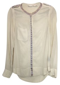 Isabel Marant Embroidered Button Up Button Down Shirt Cream