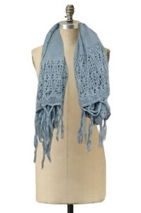 Anthropologie Sleeping On Snow Anthropologie One Blue Scarf Sparkle Open Knit Fringe Hem