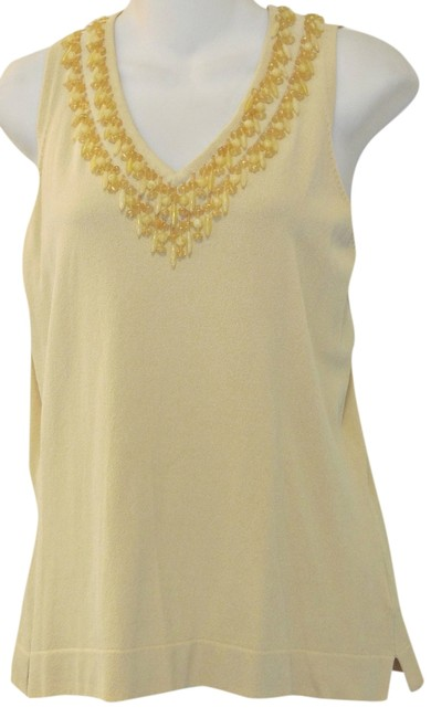 Anne Klein Beaded Boho Top Ecru