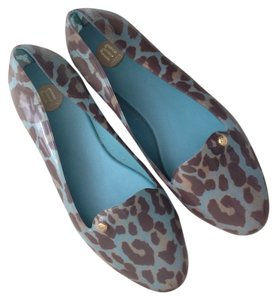 Melissa Rubber Water-resistant Turquoise Leopard Flats
