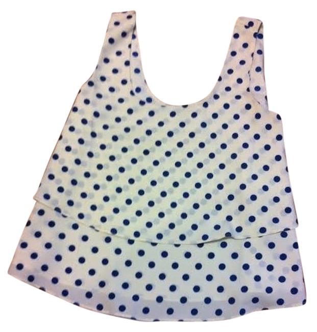 Forever 21 Flowy Top Cream w/ blue polka dots