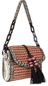 Jimmy Choo Laura Elaphe Trim Woven Cord Shoulder Bag