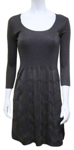 M Missoni short dress Brown New M Scoop Neck 3/4 Sleeve Textured Knit Ripple Stitch 4 Small on Tradesy