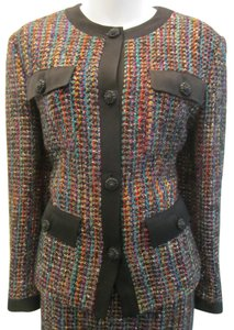 Louis Feraud Jacket Skirt Wool Suit Size 8