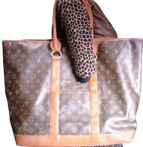 Louis Vuitton Vintage Monogram Leather Brown Travel Bag