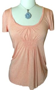 Banana Republic Salmon Sheer Scoopneck Blouse T Shirt Peach / Apricot