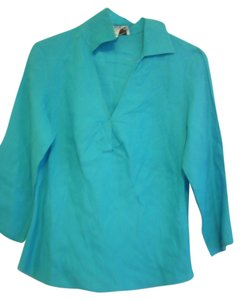 Talbots Elegant Career Linen Top Sky Blue